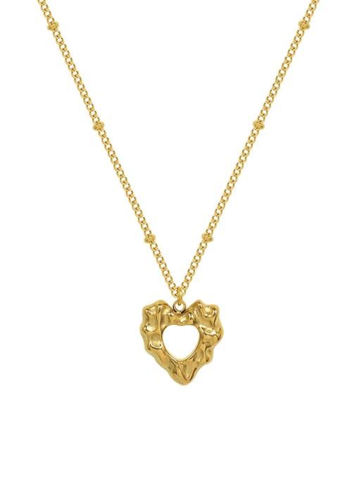 MAKA Titanium Steel Hollow Heart Hip Hop Necklace 0
