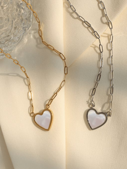 MAKA Titanium Steel Shell Heart Minimalist Necklace 2