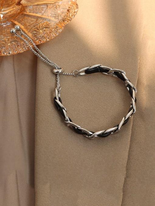 Steel color Titanium Steel Leather Geometric Vintage Adjustable Bracelet