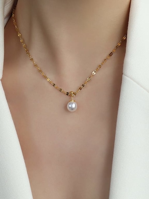 P497 gold  Necklace 40+5cm Titanium 316L Stainless Steel Imitation Pearl Minimalist Round  Earring and Necklace Set with e-coated waterproof