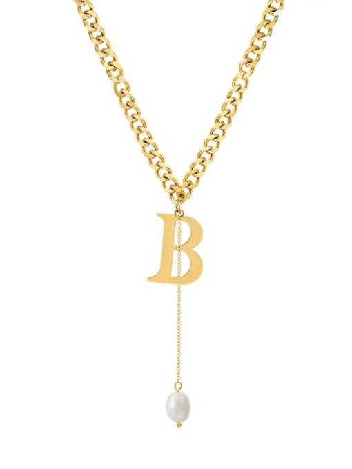 MAKA Titanium Steel Imitation Pearl Tassel  Letter B Vintage Necklace 0