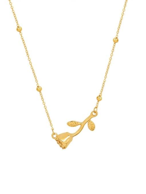 MAKA Titanium Steel Flower Minimalist Necklace 0