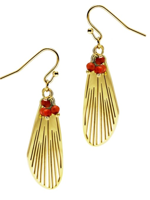 Red Feather cool wind personalized titanium steel earrings