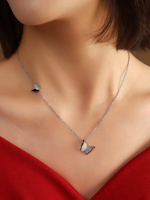 P045 steel  43+5cm Titanium Steel Butterfly Cute Necklace