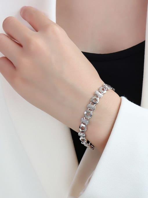 E090 Steel Star  16+ 5cm Titanium Steel Geometric Minimalist Link Bracelet