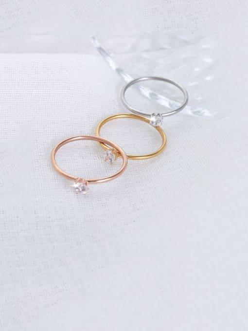 MAKA Titanium Steel Cubic Zirconia Geometric Minimalist Band Ring