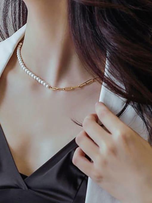 MAKA Titanium Steel Imitation Pearl Minimalist Irregular  Braclete and Necklace Set 1