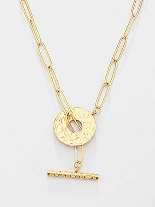 YAYACH Hollow round buckle design sense titanium steel necklace 1