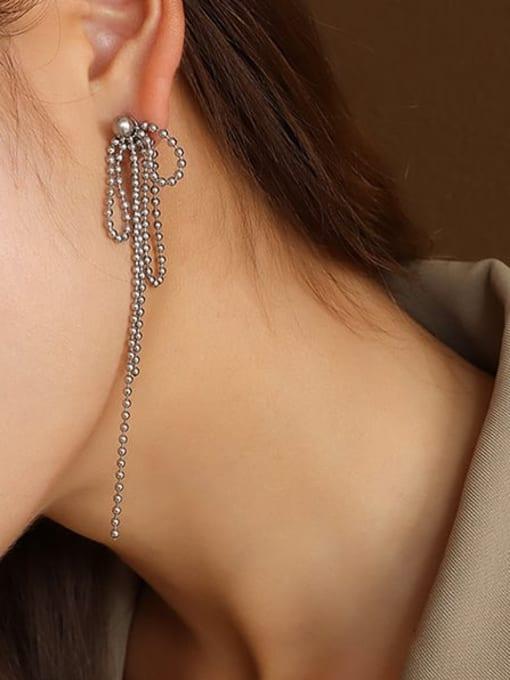 MAKA Titanium Steel Bead Tassel Vintage Drop Earring 1