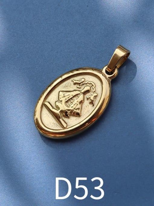 D53 gold Stainless steel Geometric  Vintage Pendant
