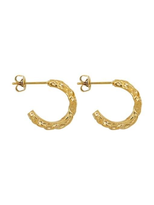 gold Titanium Steel C shape Minimalist Stud Earring