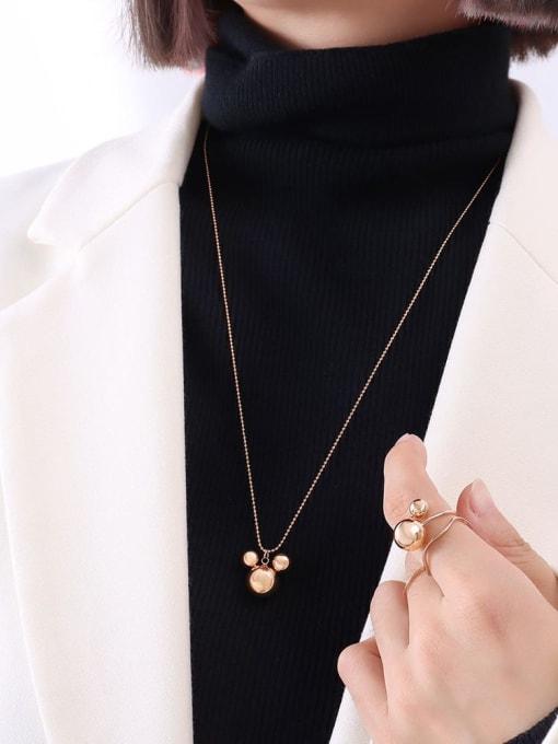 P458 rose rice mouse Necklace 50+ 5cm Titanium Steel Bead Geometric Minimalist Necklace