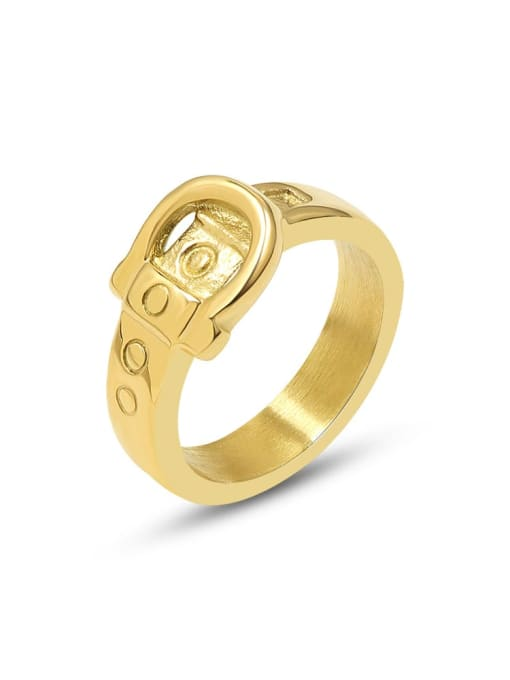 MAKA Titanium 316L Stainless Steel Geometric Vintage Band Ring with e-coated waterproof 0