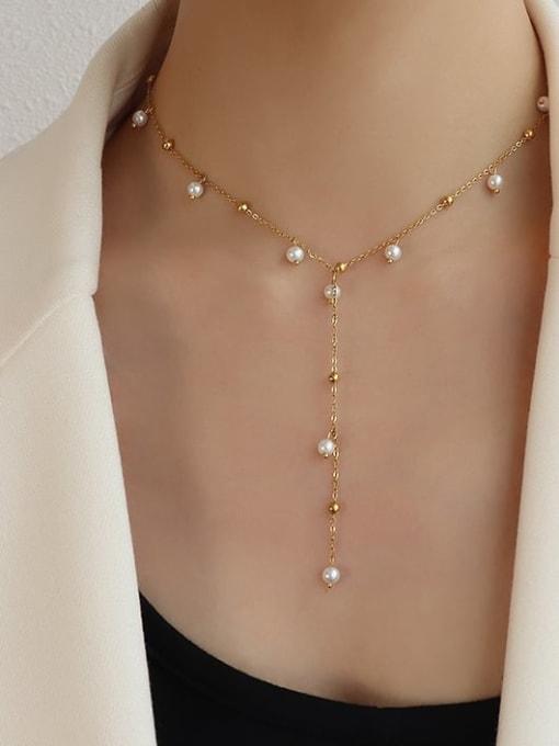 MAKA Titanium 316L Stainless Steel Imitation Pearl Geometric Vintage Tassel Necklace with e-coated waterproof 1