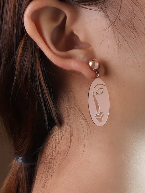 F258 Rose Gold Earrings Titanium 316L Stainless Steel Oval Vintage Drop Earring with e-coated waterproof