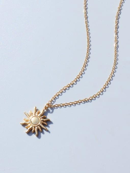 MAKA Titanium Steel Irregular Minimalist Sun Pendant Necklace 2