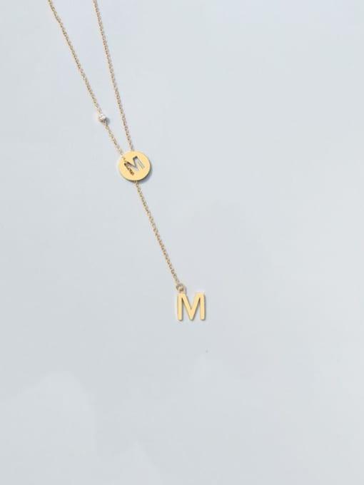 M letter gold necklace Titanium Steel Tassel Minimalist Lariat Necklace