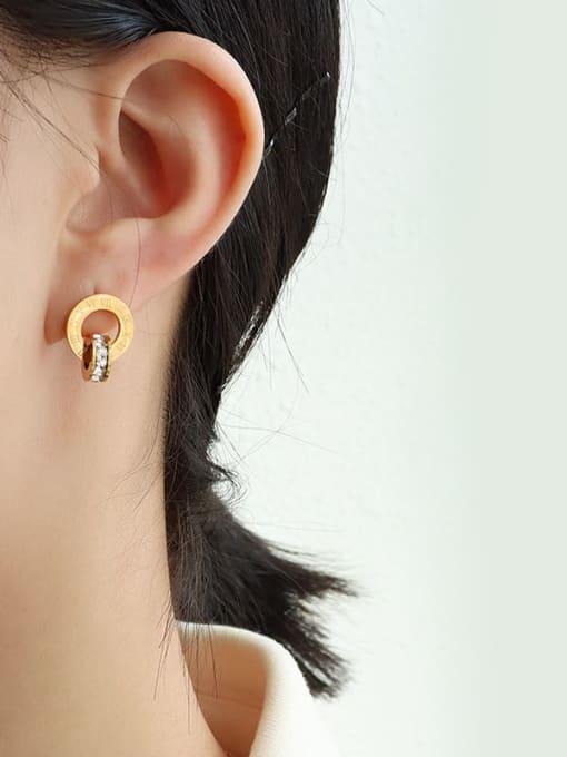 gold Titanium Steel Minimalist Geometric Rhinestone Earring and Necklace Set