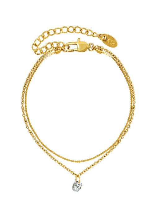 MAKA Titanium Steel Rhinestone Minimalist Strand Bracelet 0