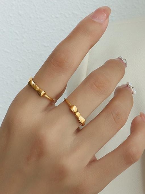 MAKA Titanium Steel Bowknot Minimalist Band Ring 2