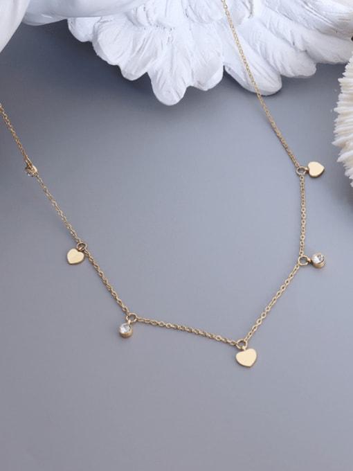 MAKA Titanium 316L Stainless Steel Rhinestone Heart Minimalist Necklace with e-coated waterproof 2