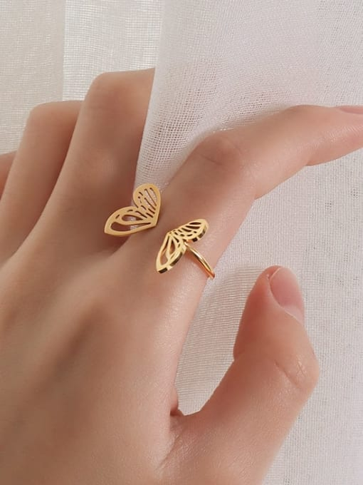 MAKA Titanium Steel Hollow Butterfly Minimalist Band Ring 1