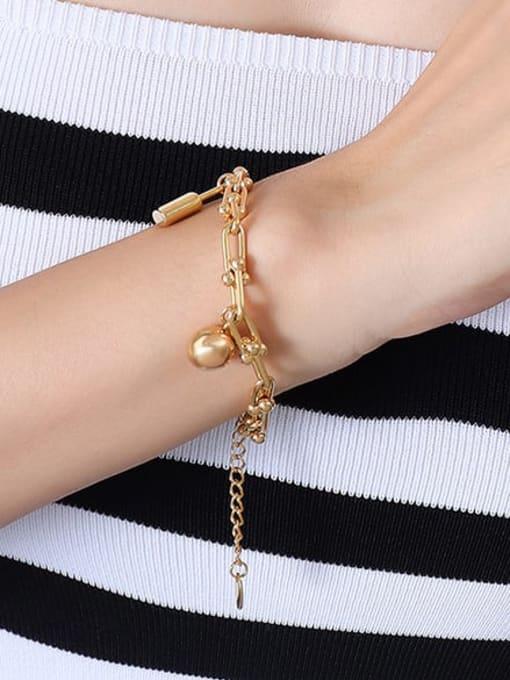 E011 Gold Bracelet 18 5cm Titanium Steel Vintage Irregular Bangle and Necklace Set
