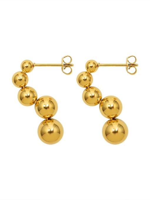gold Titanium Steel Bead Tassel Minimalist Drop Earring