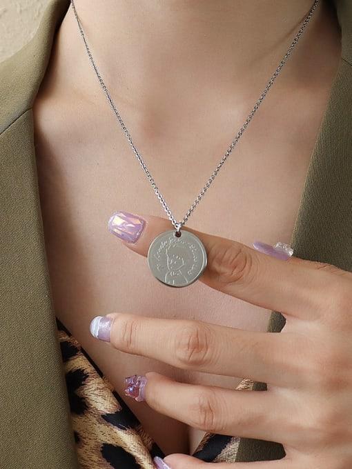 Steel color 50 +5cm Titanium Steel Round Vintage Necklace