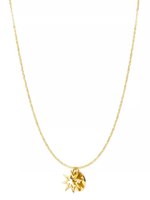 Gold Simple hollow star disc stainless steel necklace
