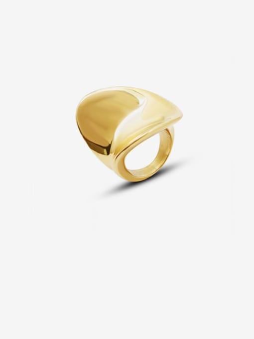 MAKA Titanium Steel Smooth Irregular Artisan Band Ring 0