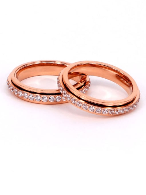 K.Love Titanium Steel Rhinestone Geometric Minimalist Band Ring 3
