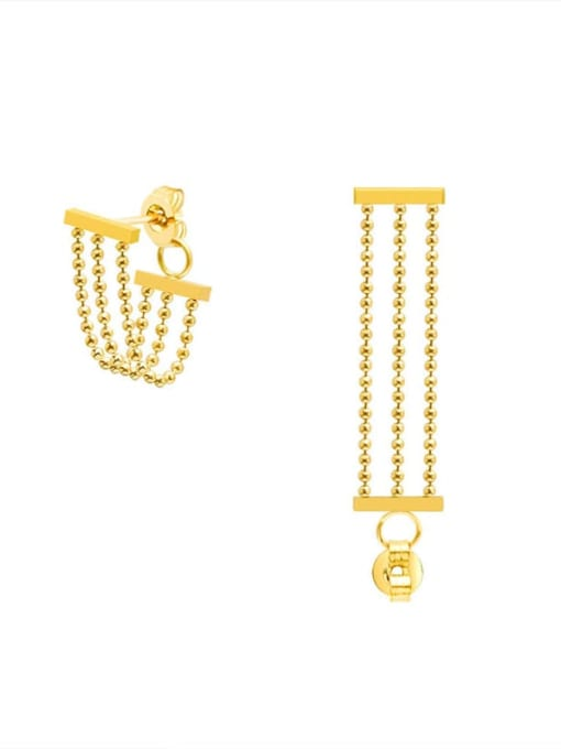 F295 Gold Bead Tassel Earrings Titanium Steel Bead Tassel Minimalist Drop Earring