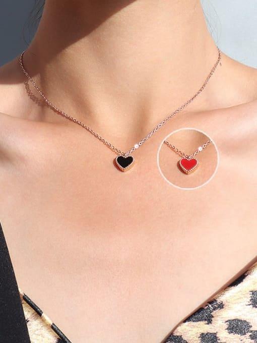 Rose Gold Shell : black +red Titanium Steel Enamel Heart Minimalist Necklace