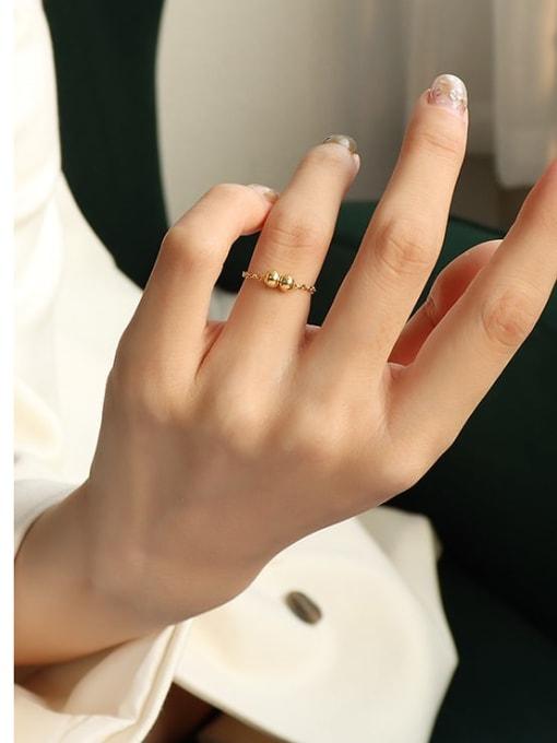 Two gold bead rings Titanium Steel Bead Round Minimalist Band Ring