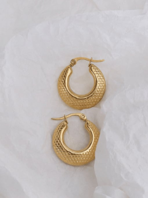 f477 gold glossy Earrings Titanium 316L Stainless Steel Hollow Geometric Vintage Huggie Earring with e-coated waterproof