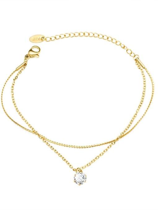 MAKA Titanium Steel Rhinestone Geometric Minimalist Strand Bracelet