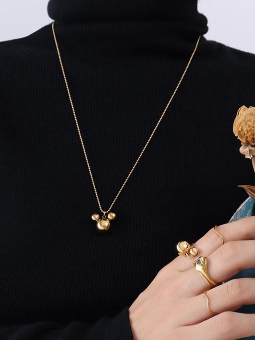 P458 golden rice mouse Necklace 50 +5cm Titanium Steel Bead Geometric Minimalist Necklace
