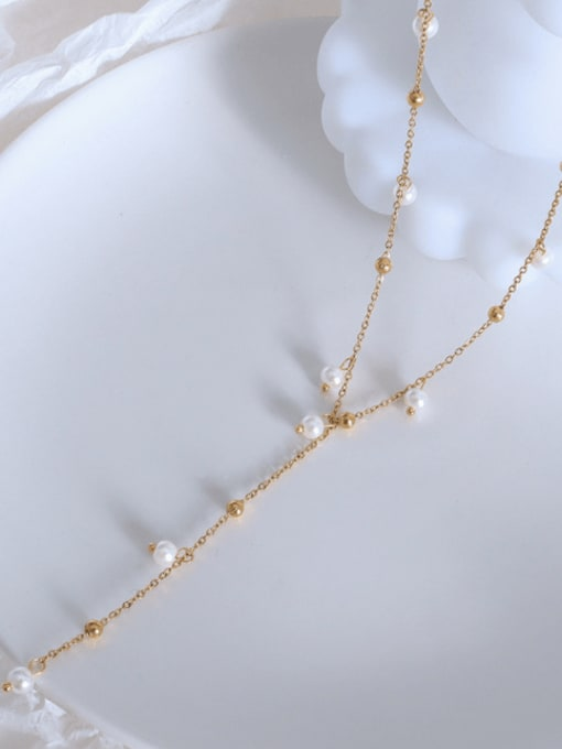 P1089 gold Necklace 37+5cm Titanium 316L Stainless Steel Imitation Pearl Geometric Vintage Tassel Necklace with e-coated waterproof