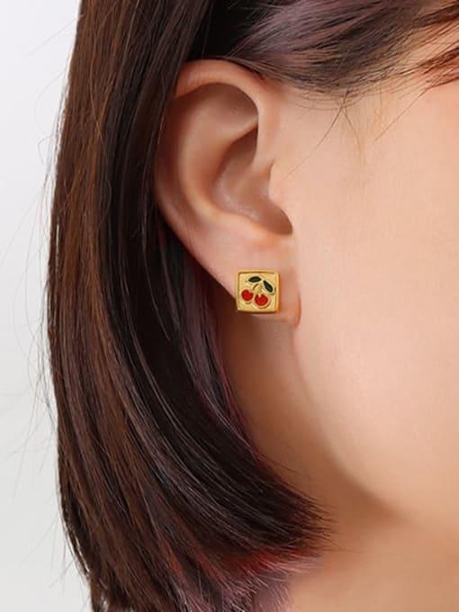 gold Titanium Steel Enamel Friut Minimalist Stud Earring