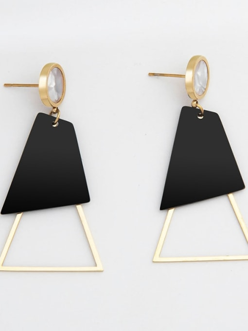 YAYACH Fashion acrylic exquisite titanium steel earrings plated with real gold