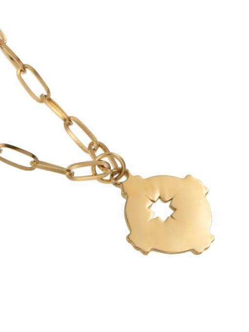 YAYACH O word chain irregular hollow titanium steel necklace 1