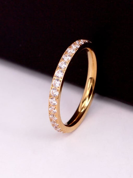 K.Love Titanium Steel Cubic Zirconia Round Minimalist Band Ring 3