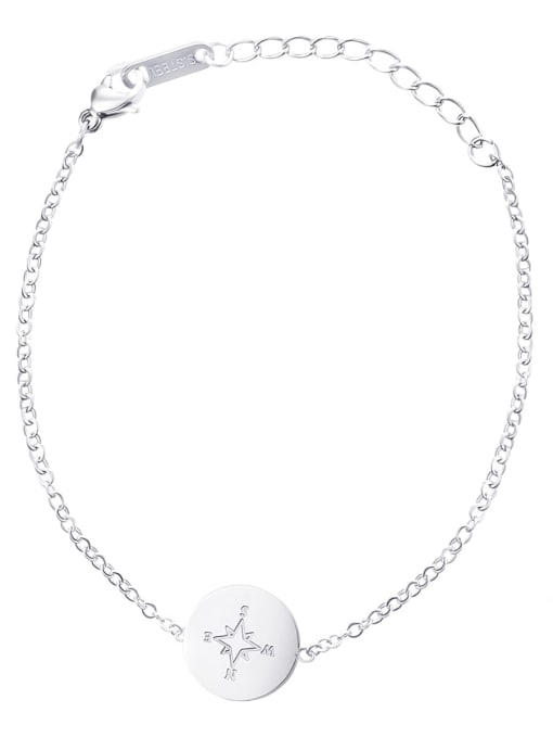 Silver Exquisite and simple round stainless steel bracelet