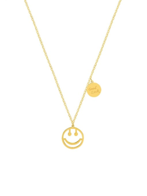 MAKA Titanium Steel Smiley Minimalist Necklace 0
