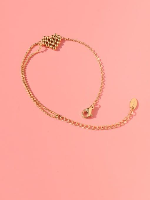 Gold bracelet 15 cm Titanium Steel Bead Heart Vintage Link Bracelet