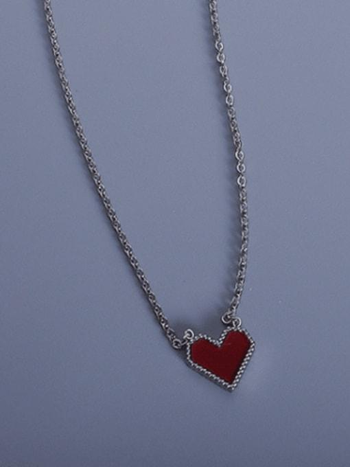 Steel acrylic peach heart 40+5cm Titanium Steel AcrylicHeart Minimalist Necklace