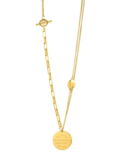 Gold necklace 49cm Titanium Steel Geometric Minimalist Multi Strand Necklace