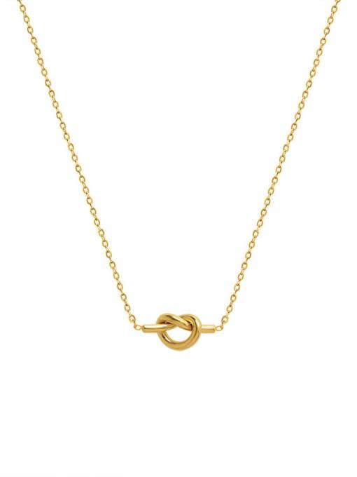 MAKA Titanium Steel Knot Heart Minimalist Necklace 0