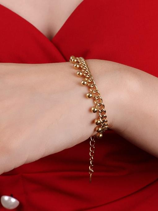 E254 gold bracelet 15 +5cm Titanium Steel Round Bead  Vintage Beaded Bracelet